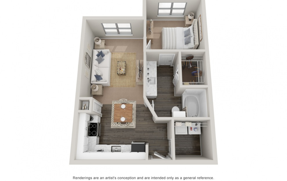 A1 - 1 bedroom floorplan layout with 1 bath and 660 square feet. (Platinum)