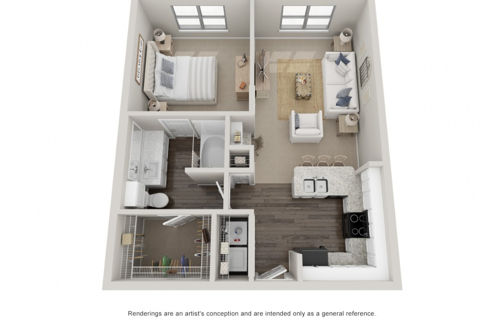 A2 - 1 bedroom floorplan layout with 1 bath and 730 square feet. (Standard)