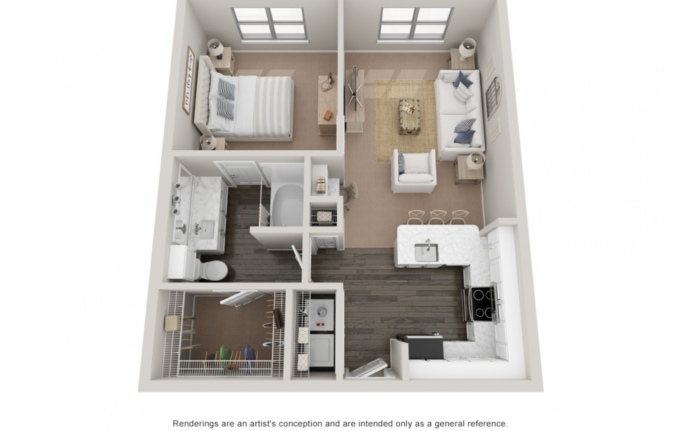 A2 - 1 bedroom floorplan layout with 1 bath and 730 square feet. (Platinum)