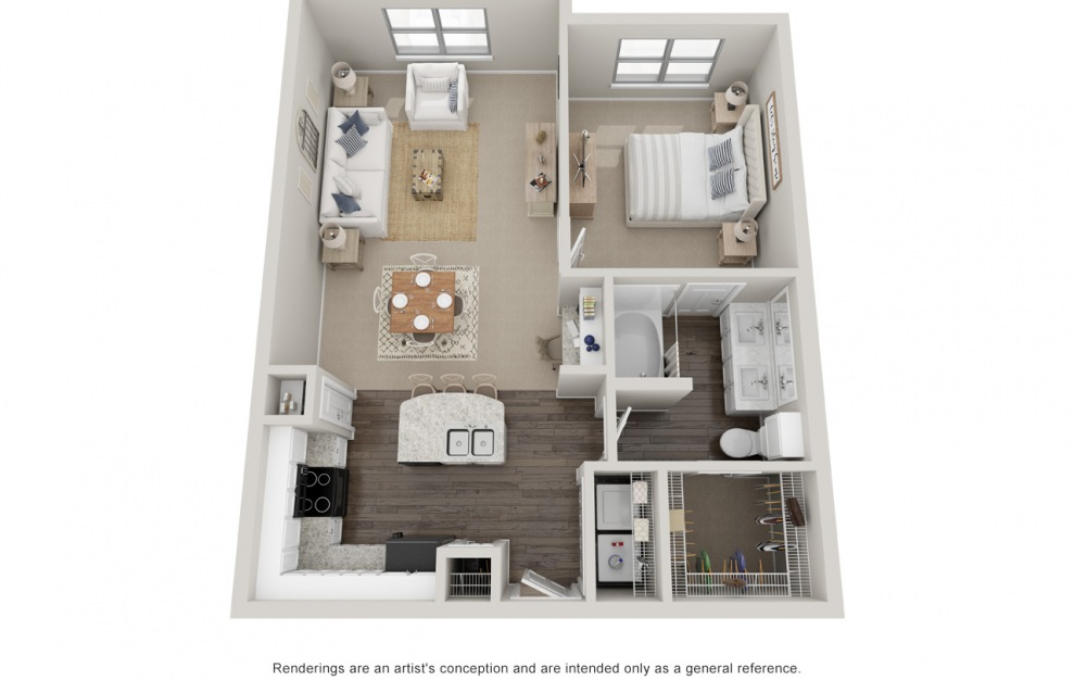 A3 - 1 bedroom floorplan layout with 1 bath and 830 square feet. (Standard)