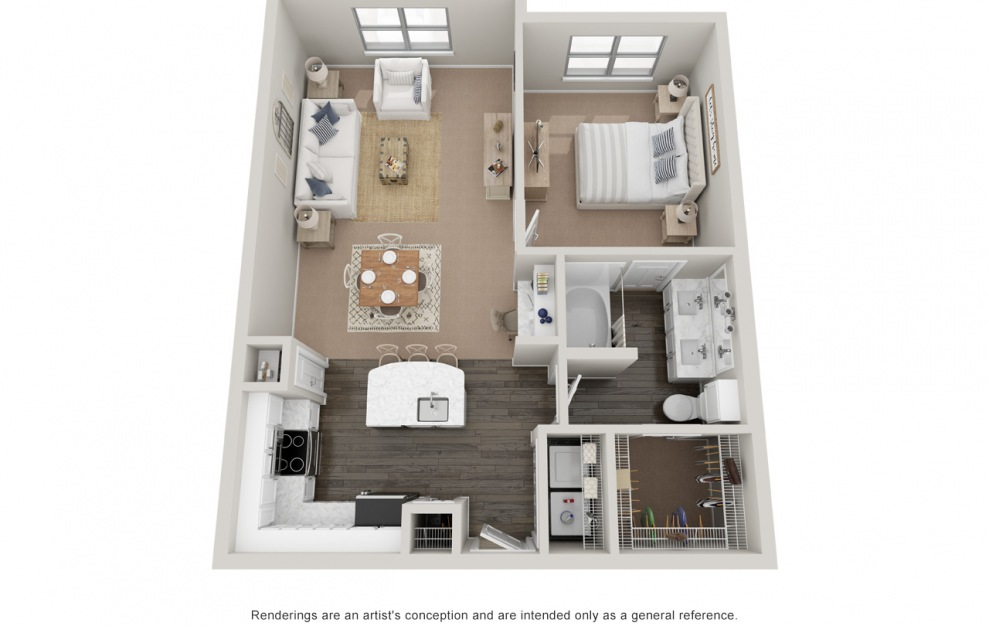 A3 - 1 bedroom floorplan layout with 1 bath and 830 square feet. (Platinum)