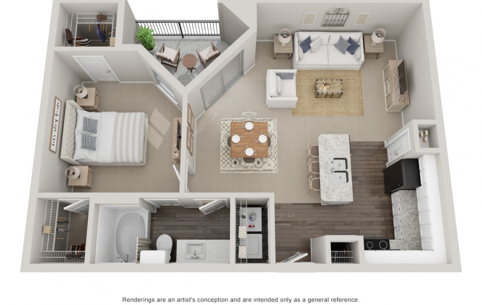 A4T - 1 bedroom floorplan layout with 1 bath and 900 square feet. (Standard)