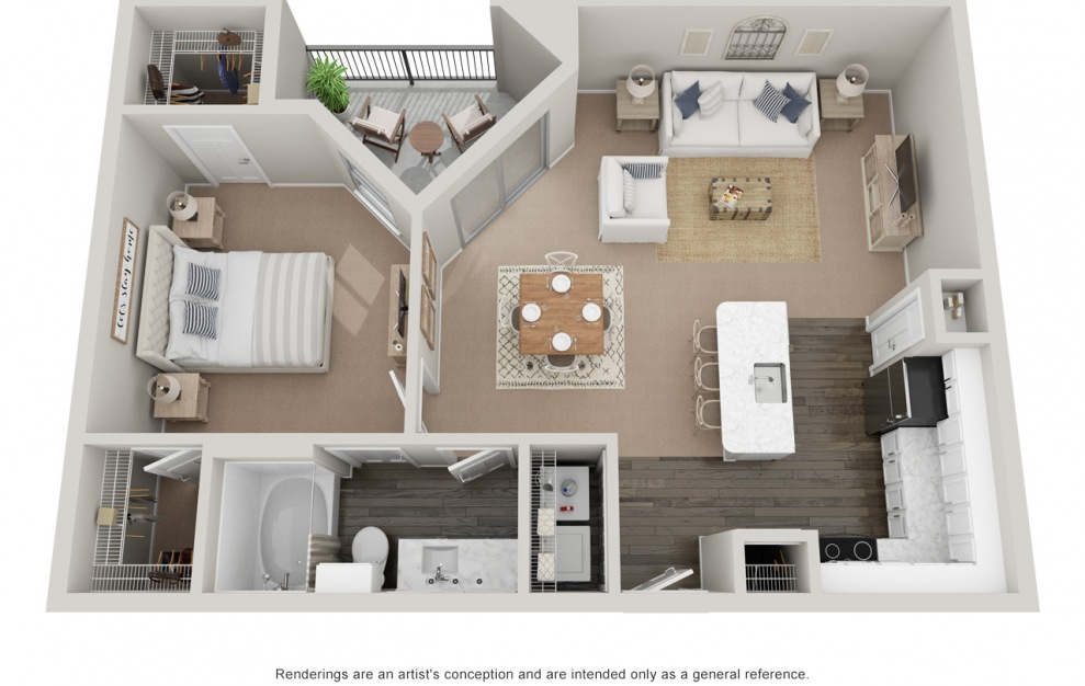 A4T - 1 bedroom floorplan layout with 1 bath and 900 square feet. (Platinum)