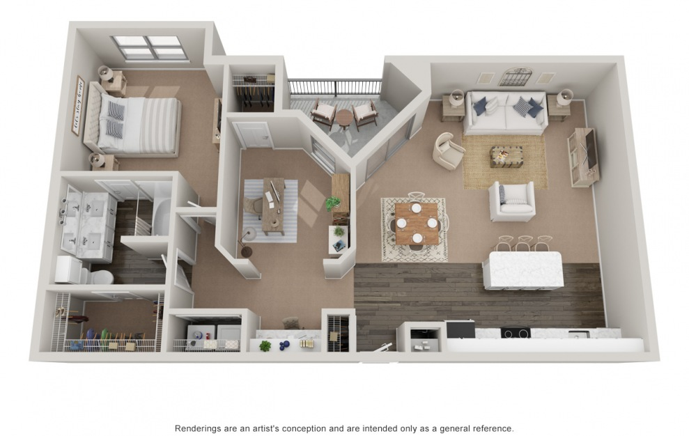 A5Ts P - 1 bedroom floorplan layout with 1 bath and 1230 square feet.