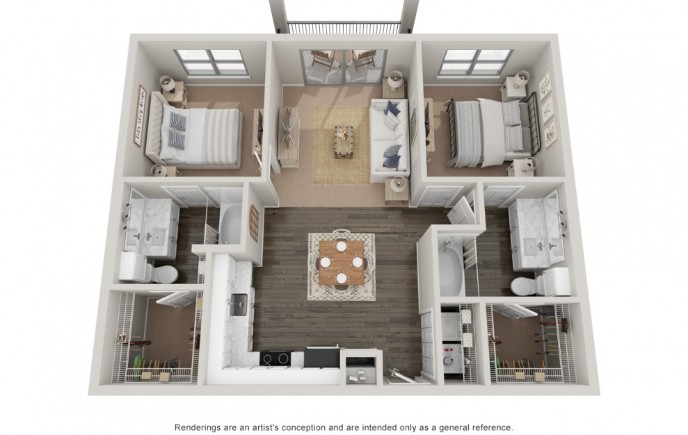 B1 P - 2 bedroom floorplan layout with 2 baths and 1070 square feet.