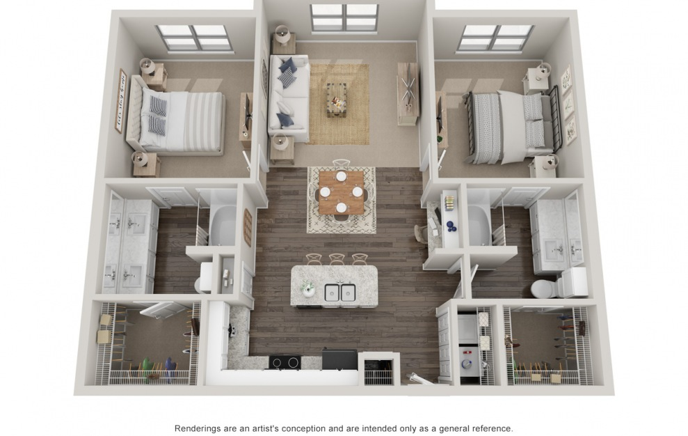 B2 - 2 bedroom floorplan layout with 2 baths and 1180 square feet. (Standard)
