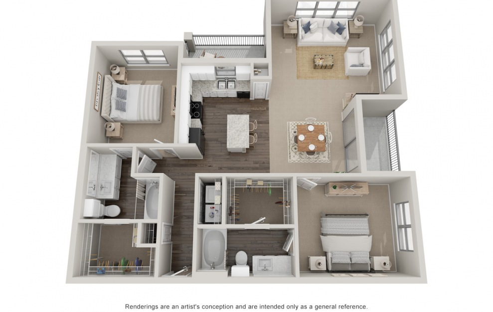 B3T - 2 bedroom floorplan layout with 2 baths and 1420 square feet.