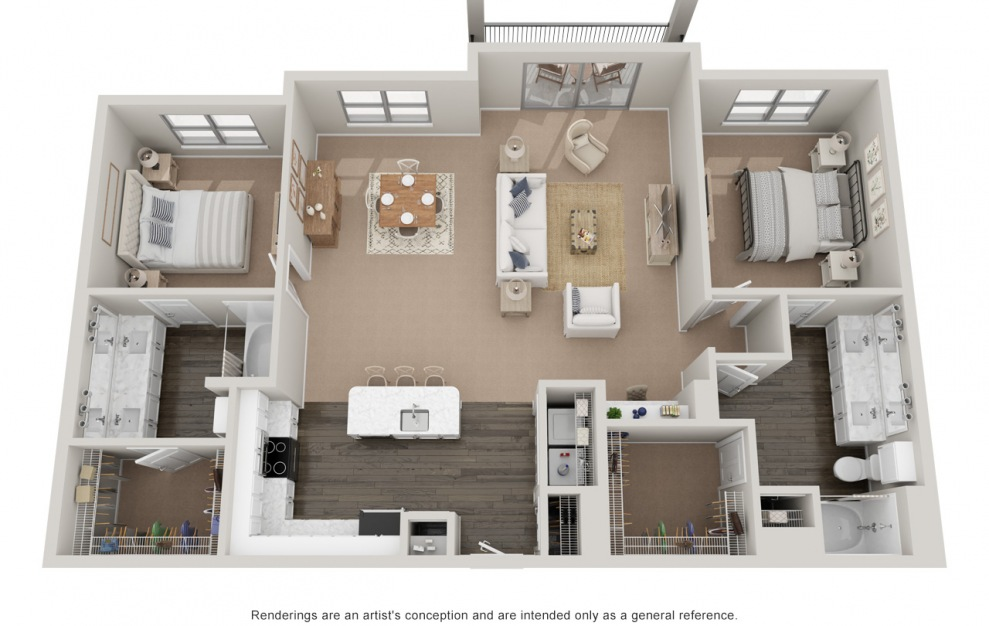 B4T P - 2 bedroom floorplan layout with 2 baths and 1580 square feet.