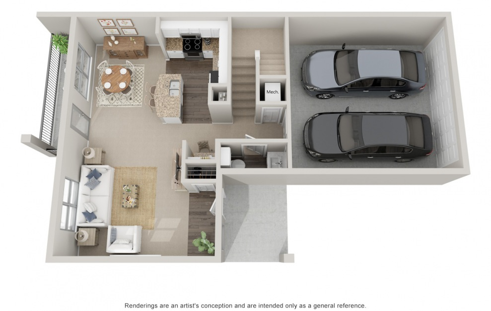 B5TH P - 2 bedroom floorplan layout with 2.5 baths and 1510 square feet. (Floor 1)