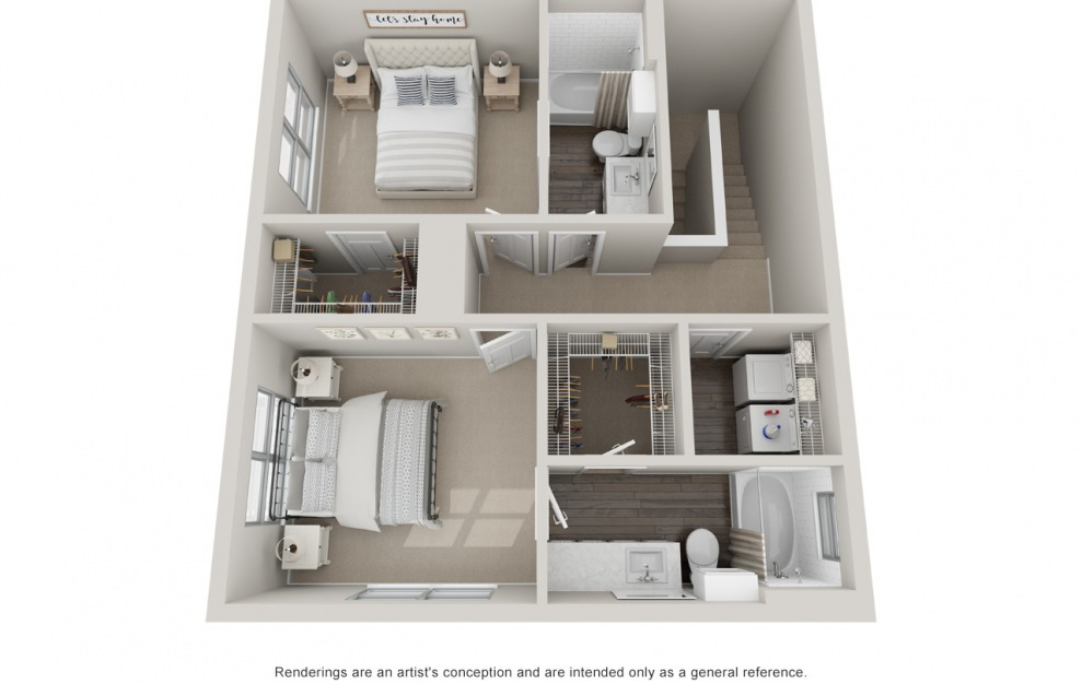 B5TH P - 2 bedroom floorplan layout with 2.5 baths and 1510 square feet. (Floor 2)